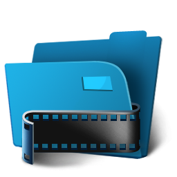 3D Blue Movies Folder Icon, PNG ClipArt Image.