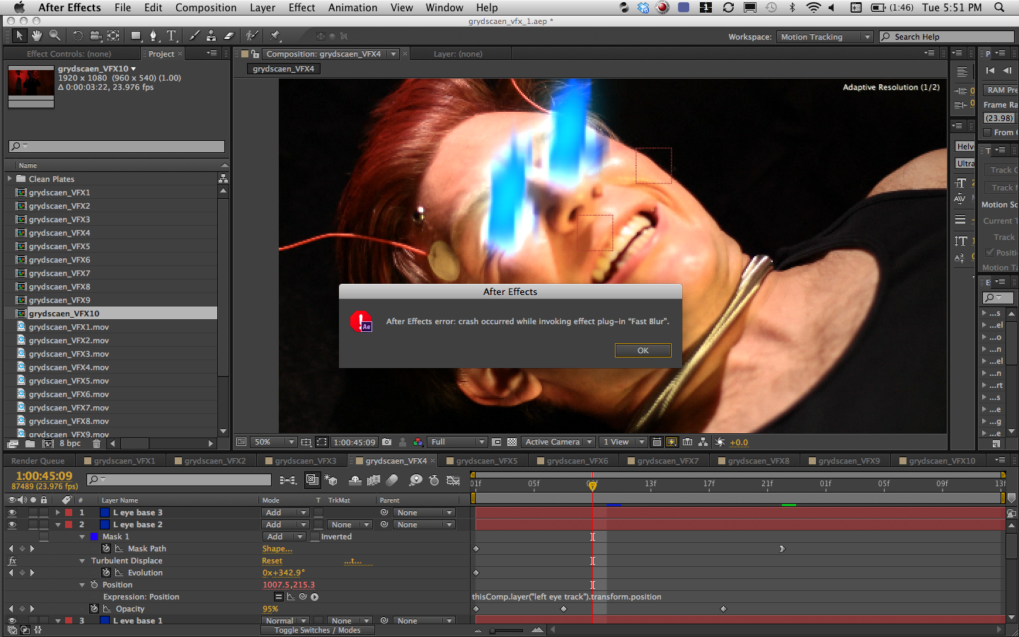 AE CS6 failing on \'fast blur\' : Adobe After Effects.