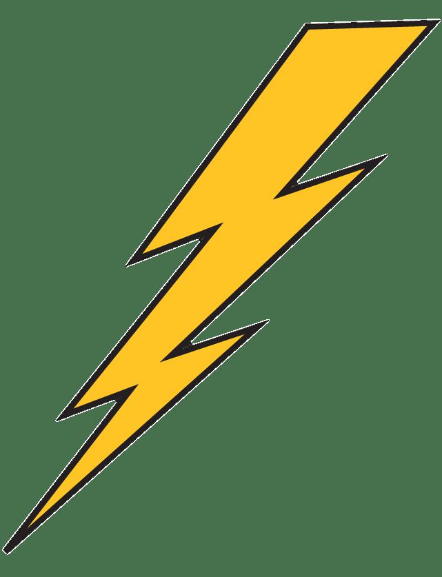 Lightning Bolt Yellow With Black Outline transparent PNG.