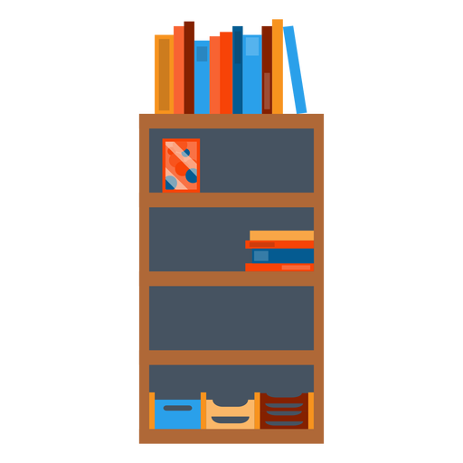 Bookshelf with office papers clipart.
