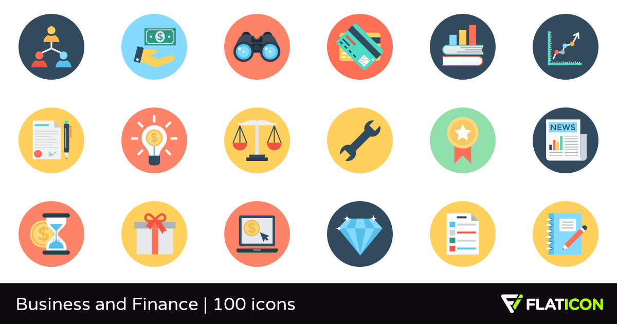 Business and Finance 100 free icons (SVG, EPS, PSD, PNG files).