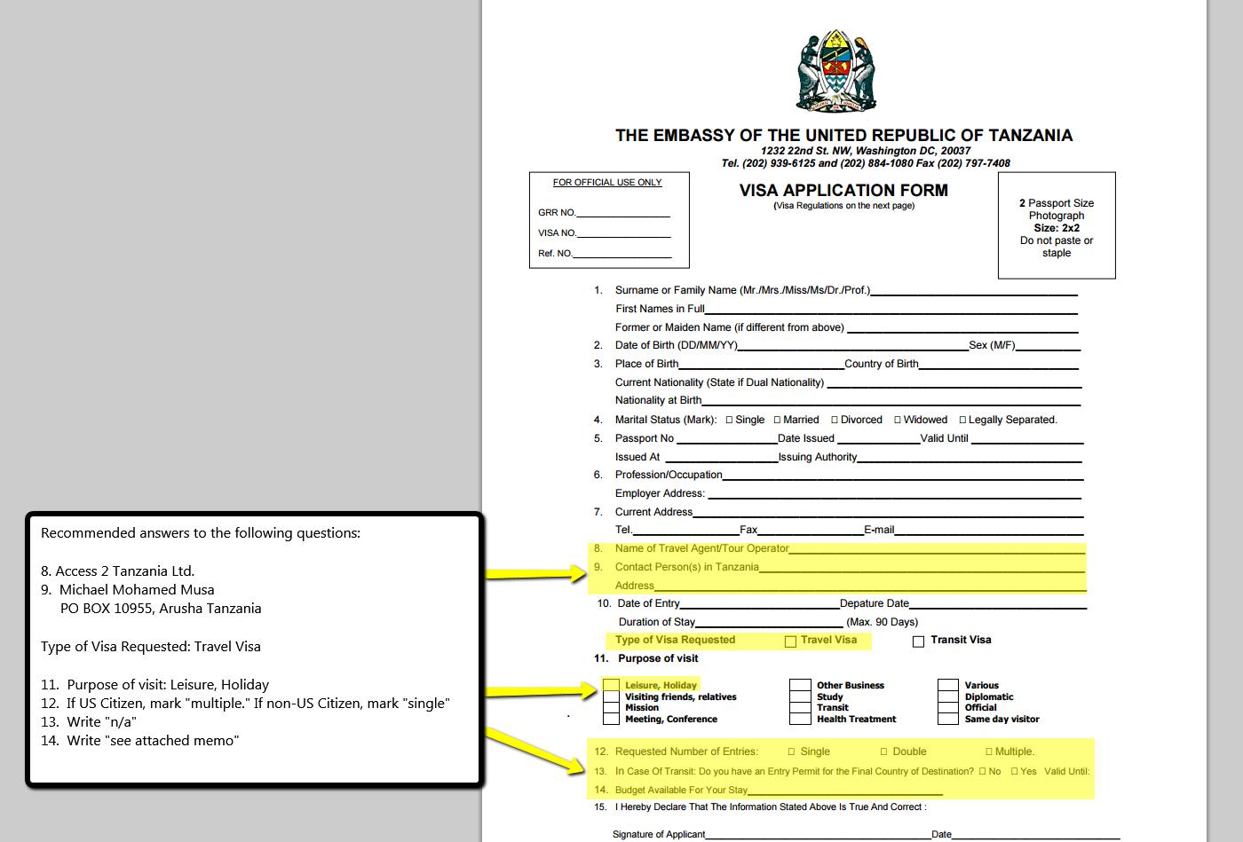 Tanzanian & Kenyan Visa Information.