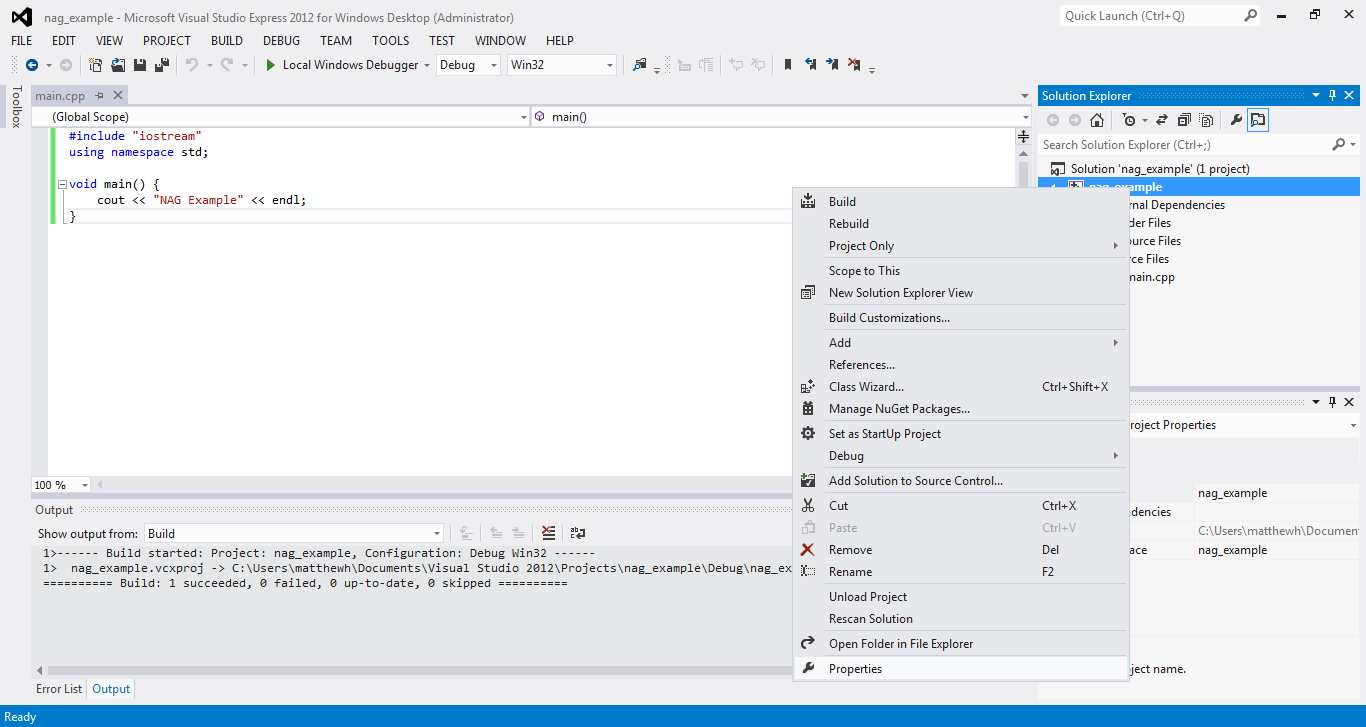 NAG C Library with Visual Studio 2012 www.nag.co.uk.