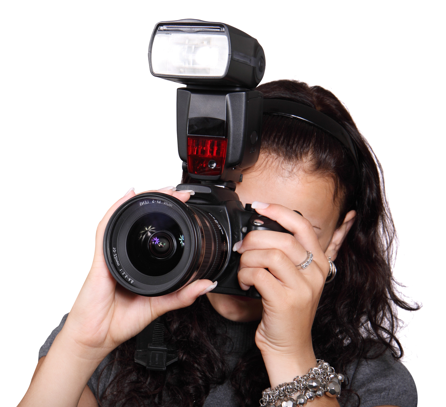 Woman Taking Photo with a Digital Camera PNG Image.