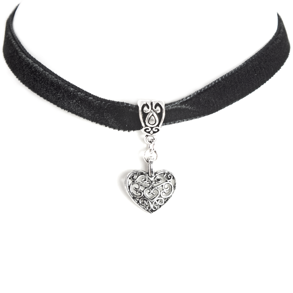 Silver Filigree Heart on Black Velvet ribbon Choker Necklace.