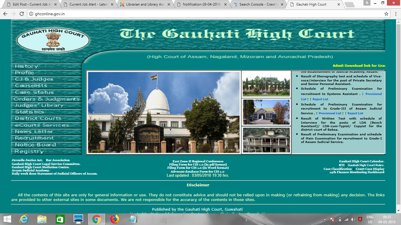 Librarian & Library Assistant Recruitment in Gauhati High.