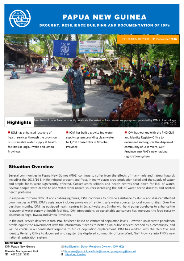 Papua New Guinea Drought, Resilience Building and.