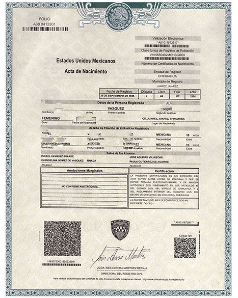 Birth Certificate.