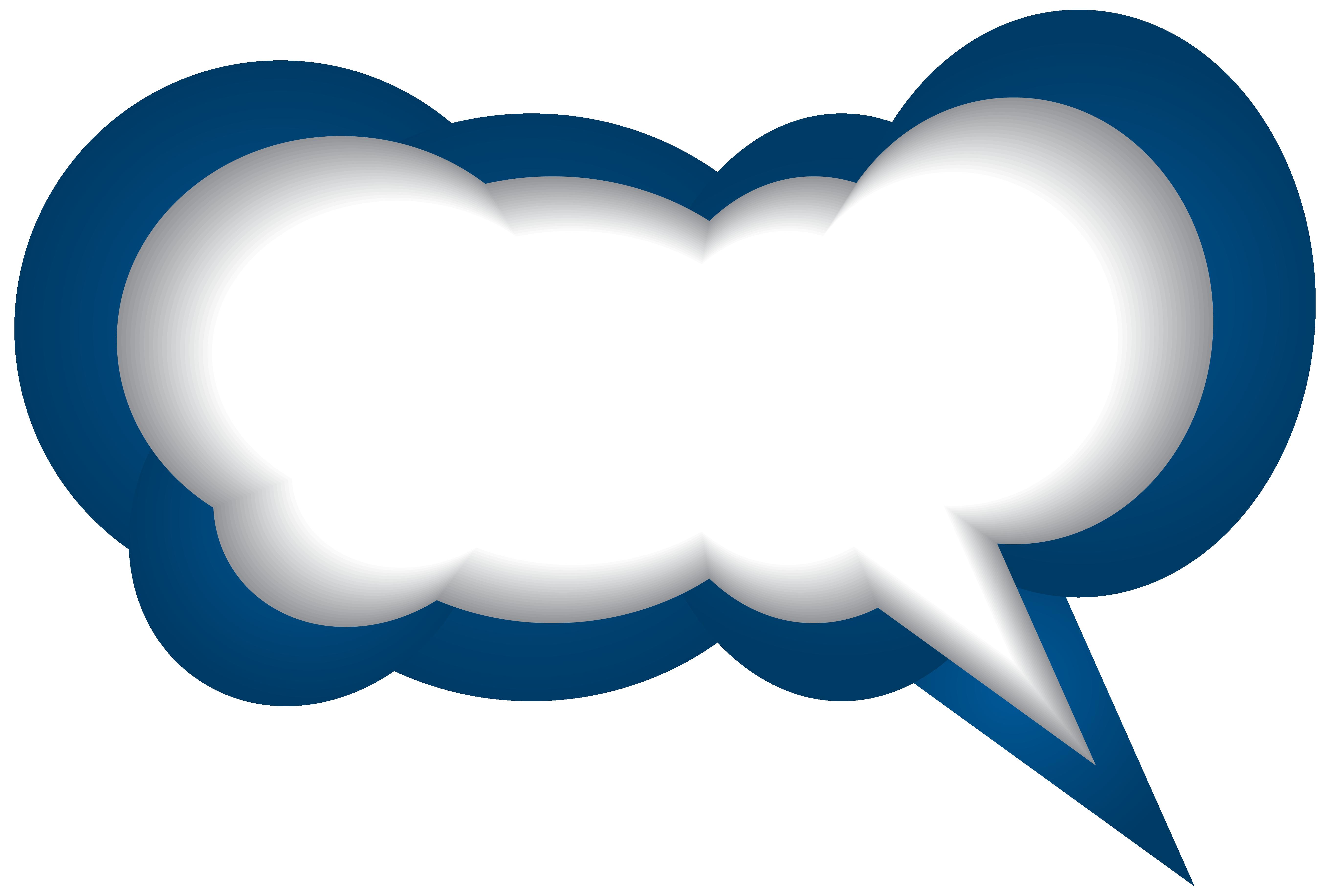 Speech Bubble Blue White PNG Clip Art Image.