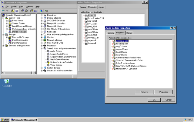 Where in Windows are the legacy audio & video codec manager.