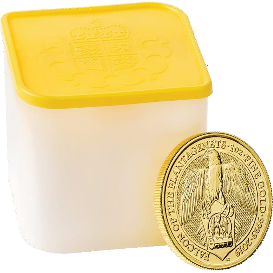 2019 UK Queen's Beasts The Falcon of the Plantagenets 1oz Gold Coin.