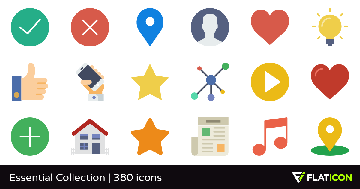 Essential Collection 380 free icons (SVG, EPS, PSD, PNG files).