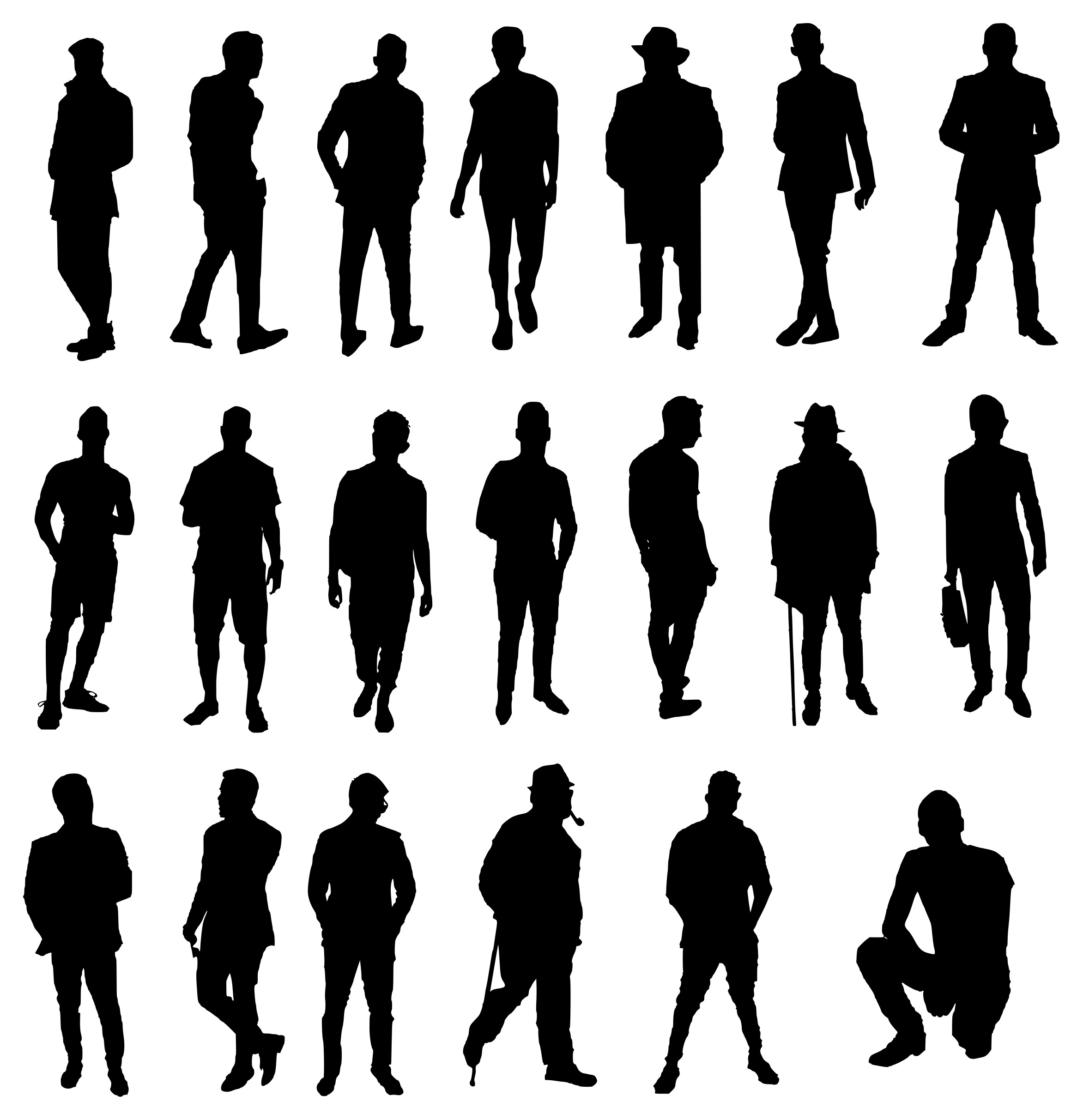20 Man Silhouette (PNG Transparent).