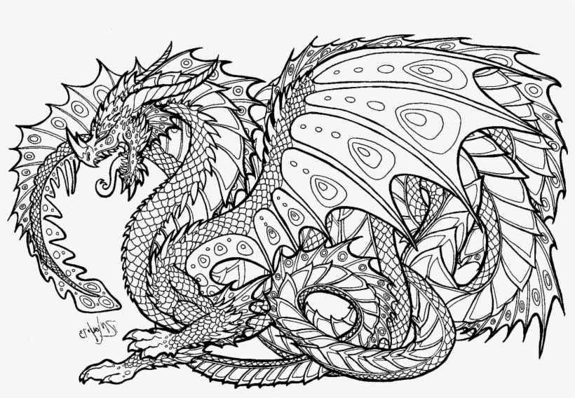 Realistic Dragon Coloring Pages For Adults.