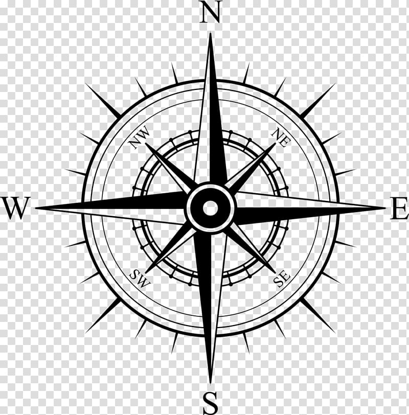 Compass rose, North Compass rose Map, compass transparent.