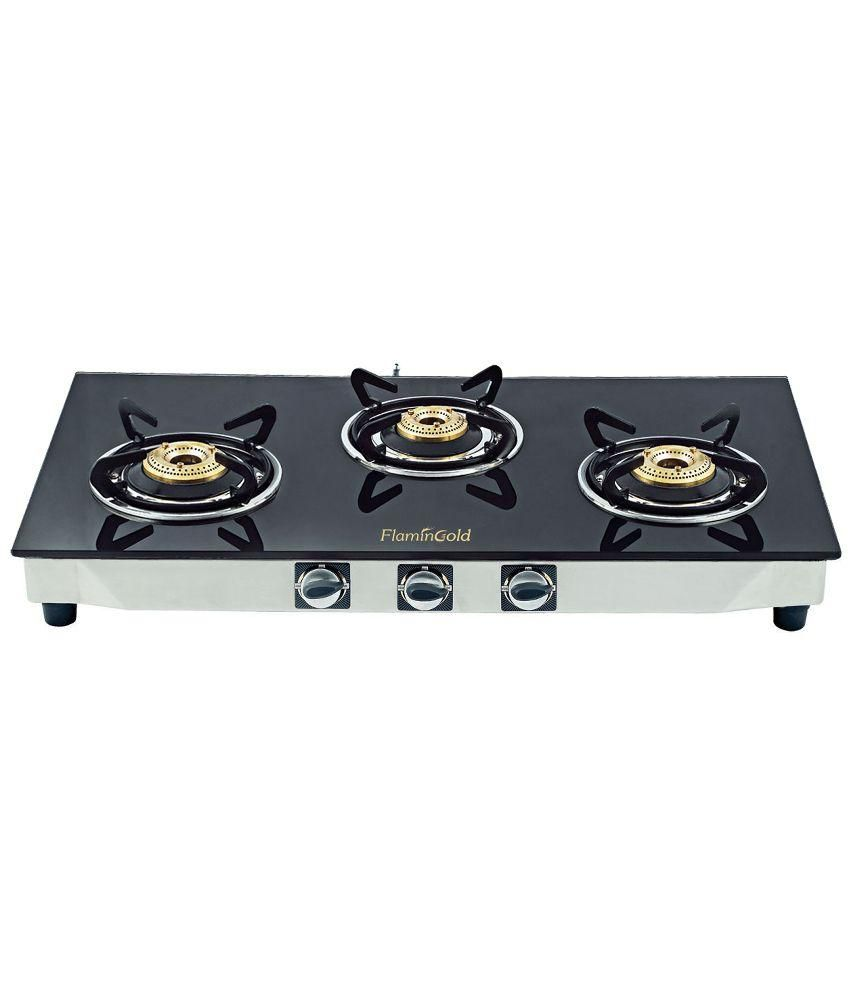 Flamingold PNG Gas Stove 3 Burner Glass top (Pipeline Gas stove).