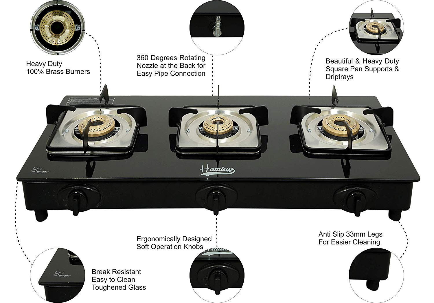 Hamlay Toughened Glass Burner Auto Ignition Gas Stove (3 Burner PNG  Compatible Black).