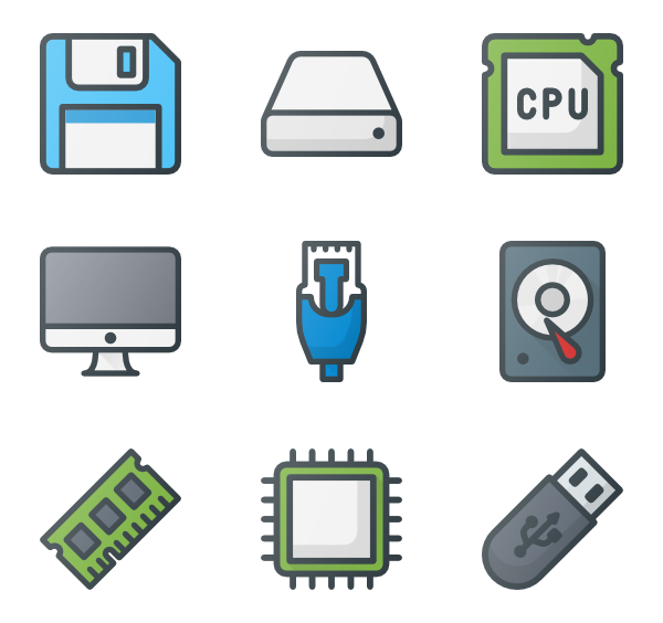 33 electronic component icon packs.