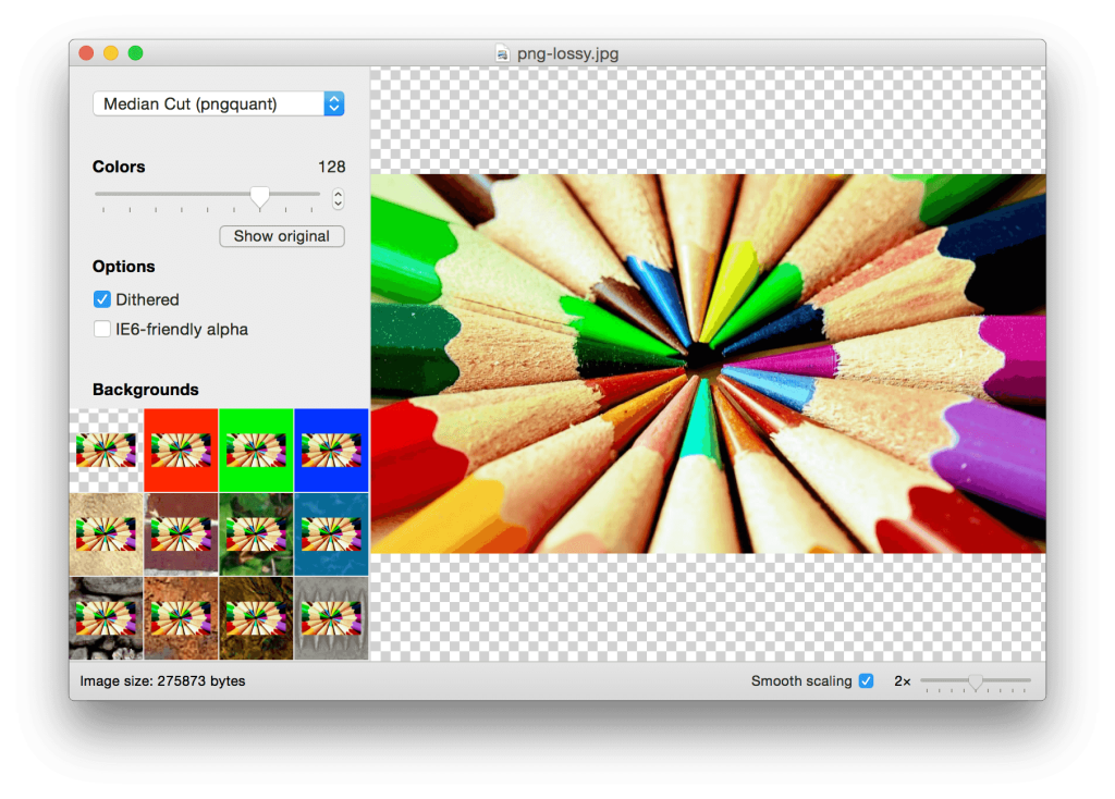 Minimize PNG files using lossy compression.