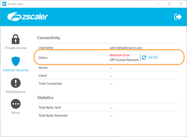 Zscaler App: Connection Status Errors.