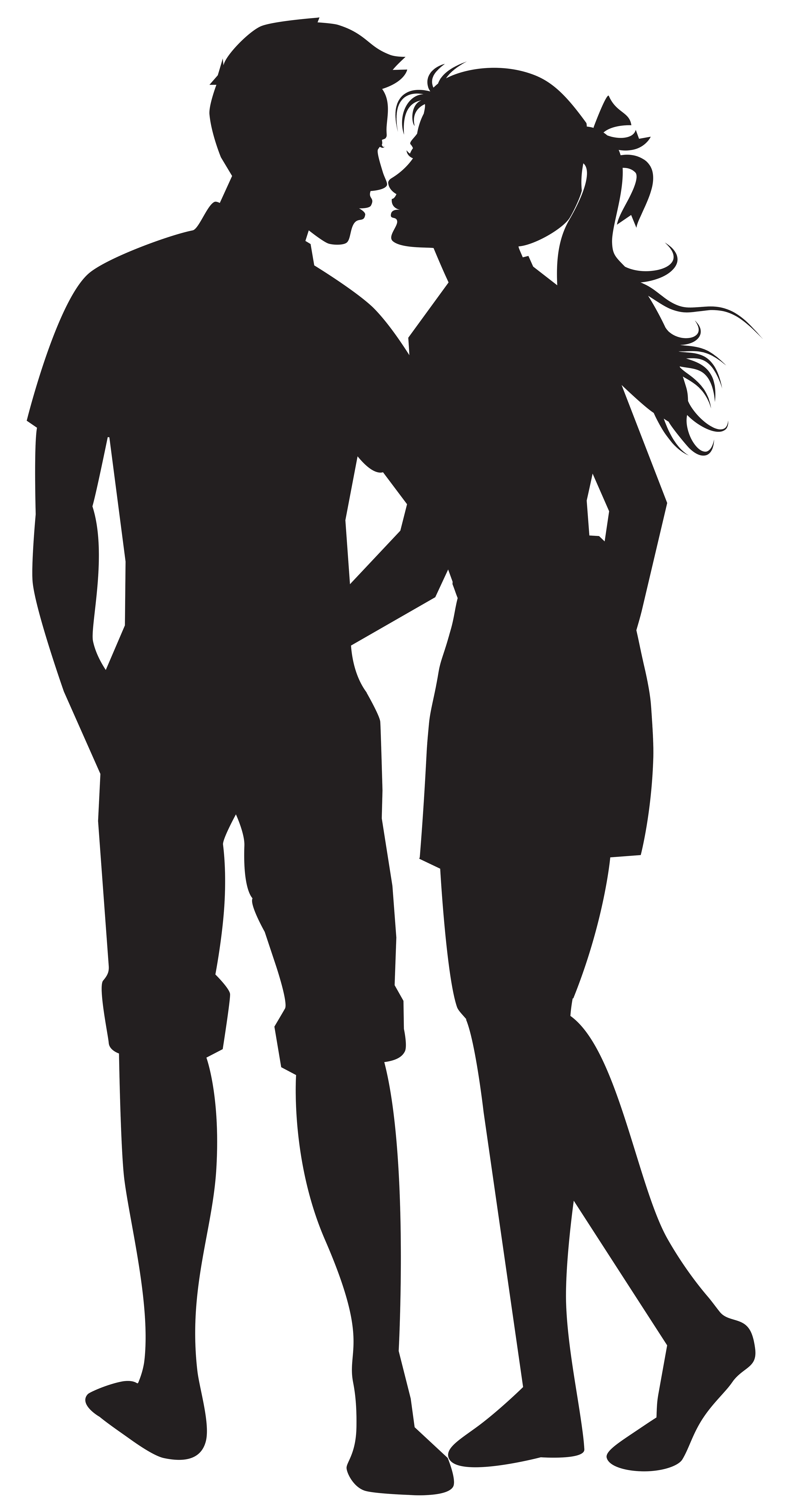 Couple PNG Silhouettes Clip Art Image.