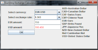 Java programs: Currency Exchange Calculator.