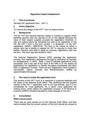 Fillable Online hmrc gov Revised VAT application form. (VAT.
