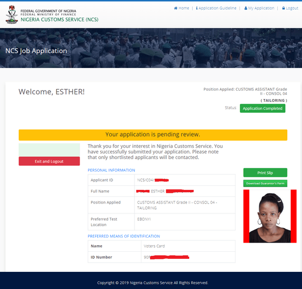 Nigeria Customs Service Login (vacancy.customs.gov.ng.