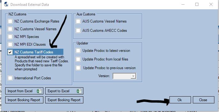 Updating Customs Tariff Codes in Prodoc III.