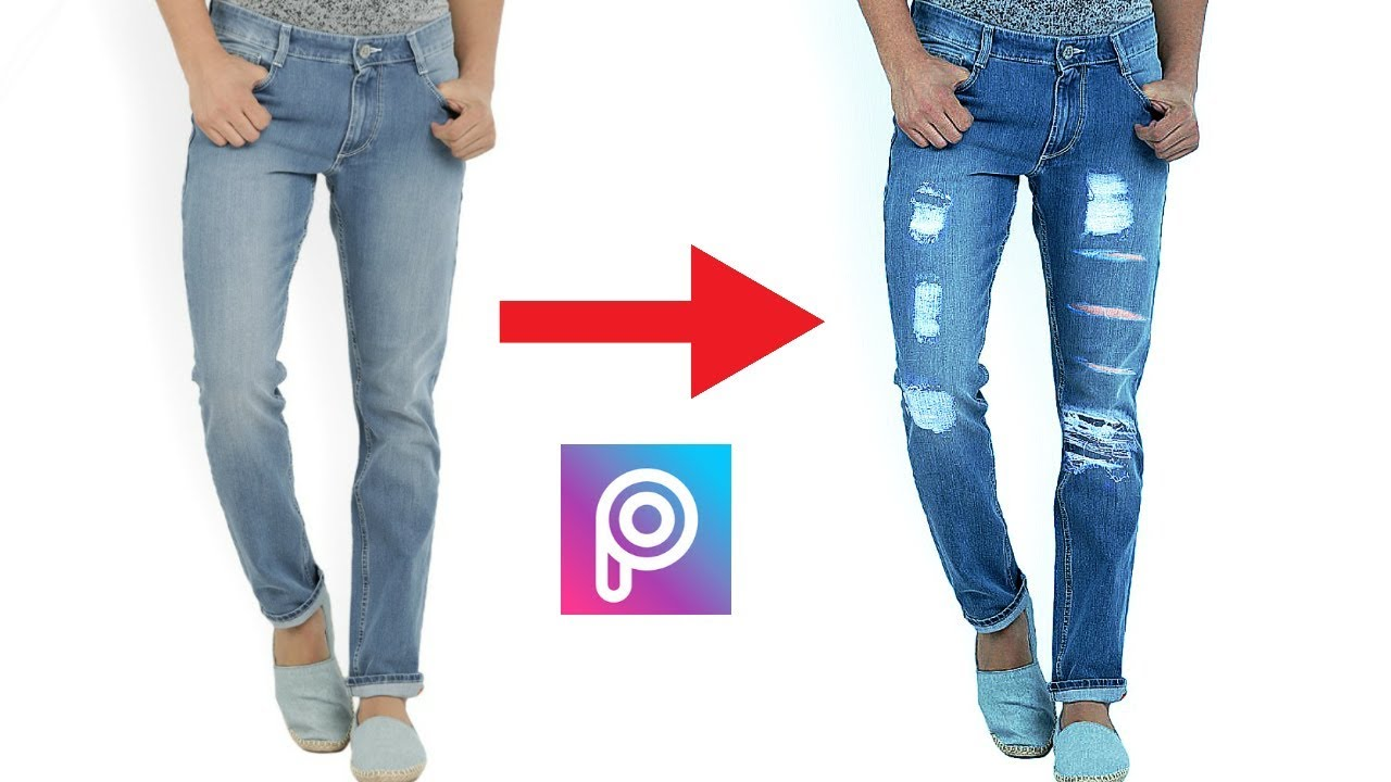 Picsart tutorial transform your old jeans into new damage jeans.