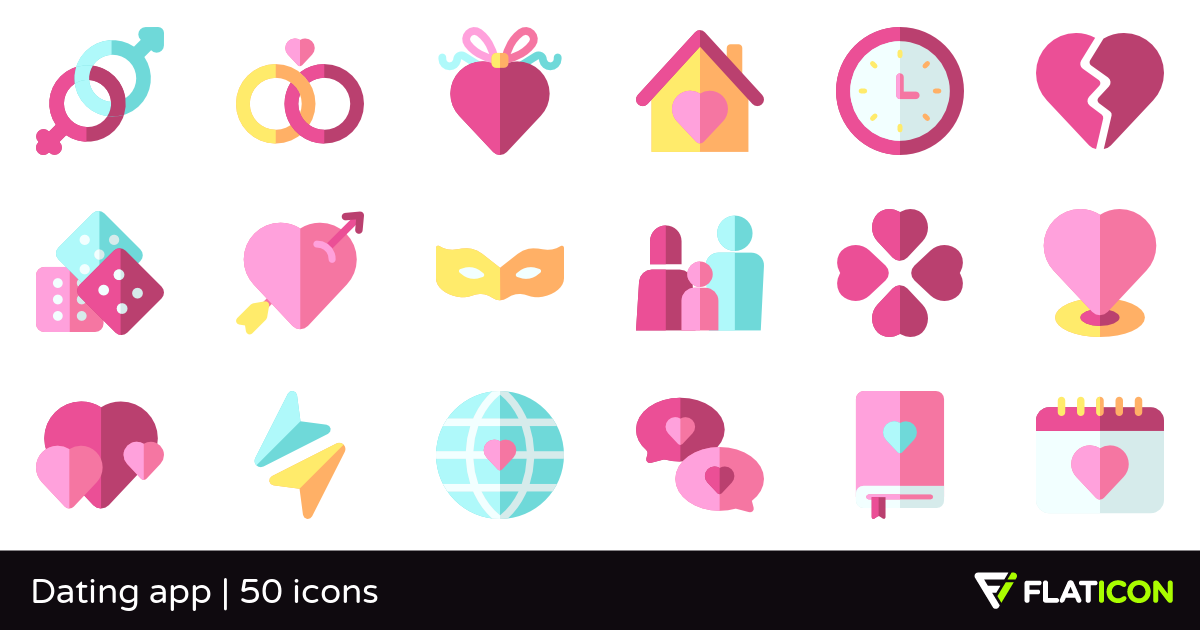 Dating app 50 free icons (SVG, EPS, PSD, PNG files).