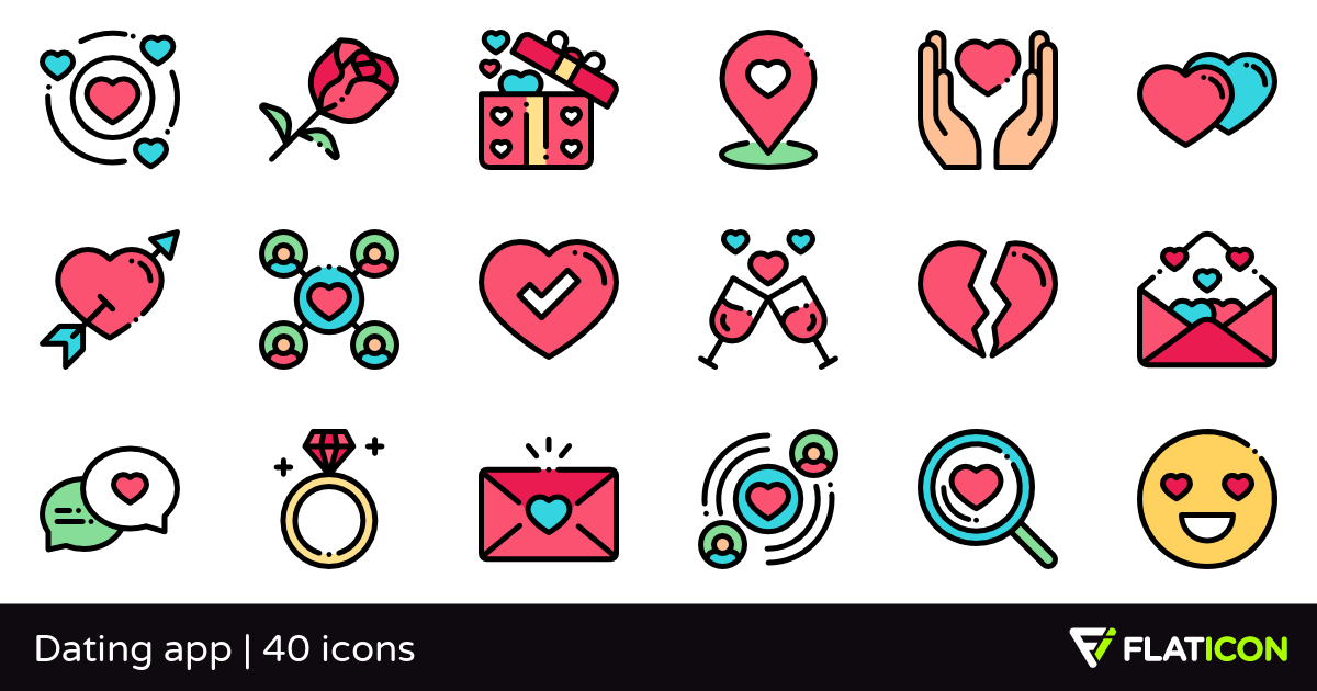 Dating app 40 free icons (SVG, EPS, PSD, PNG files).