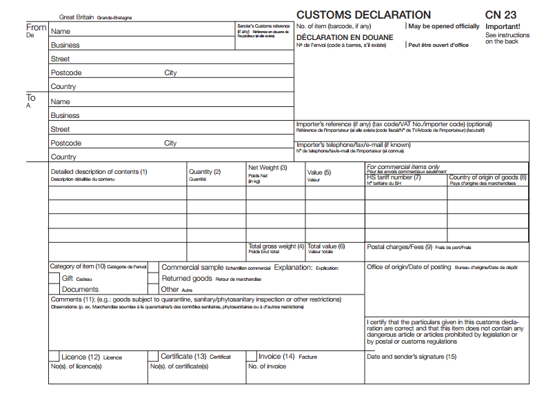 Customs Declaration form (CN23).