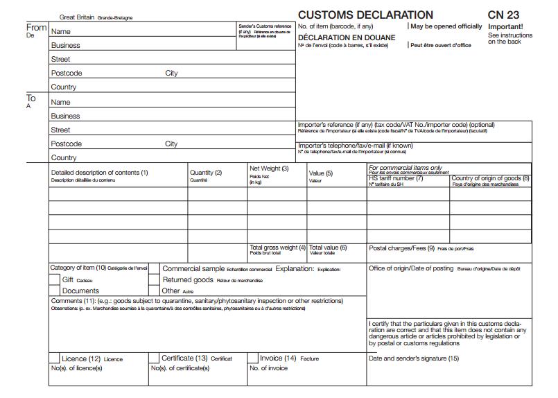 Customs Declaration form (CN23).