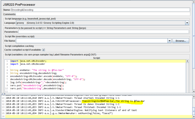 Encoding and Decoding Parameters in JMeter.
