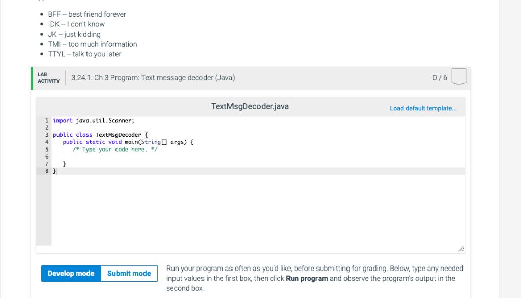 Solved: 3.24 Ch 3 Program: Text Message Decoder (Java) (1.