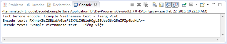 Encode and decode example in Java using Apache Base64.
