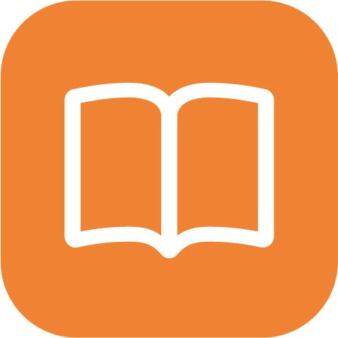 Description Book icon orange #160.