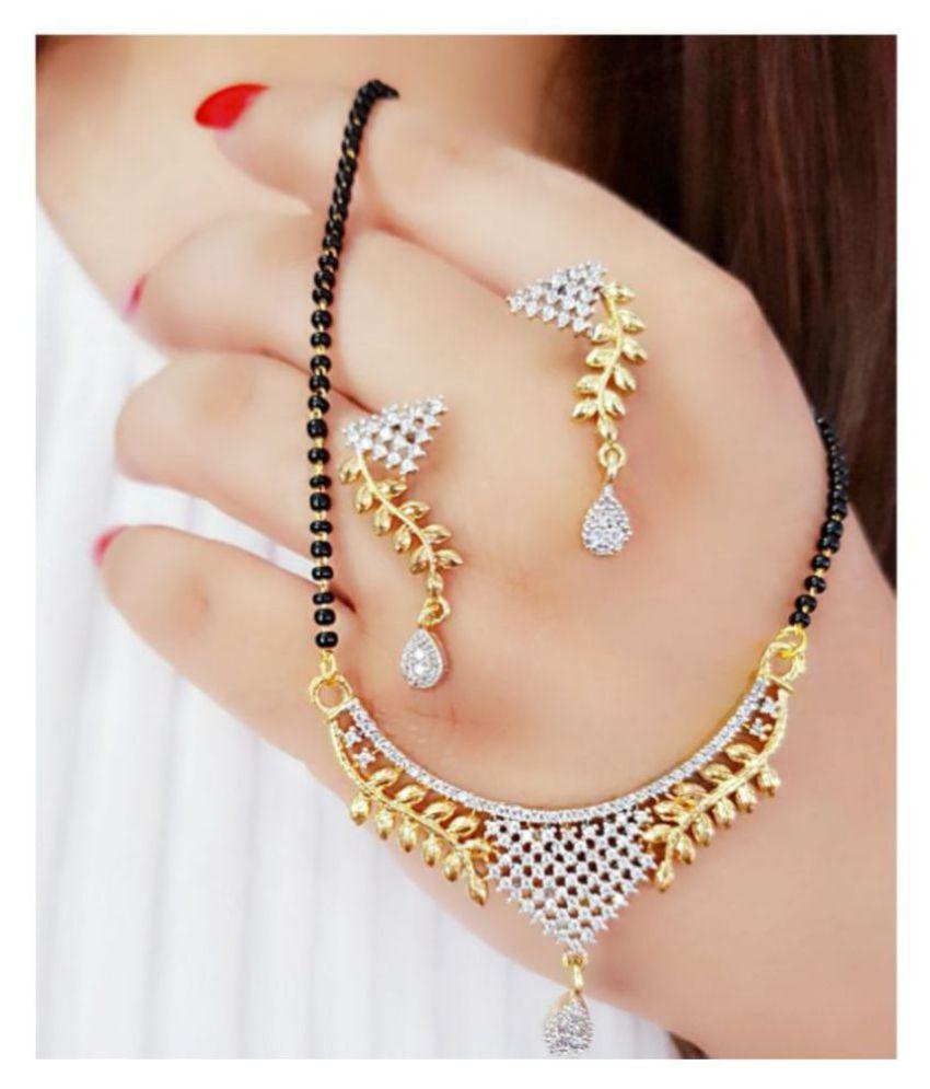 Foxy Trend Black Brass American Diamond Mangalsutra Set.