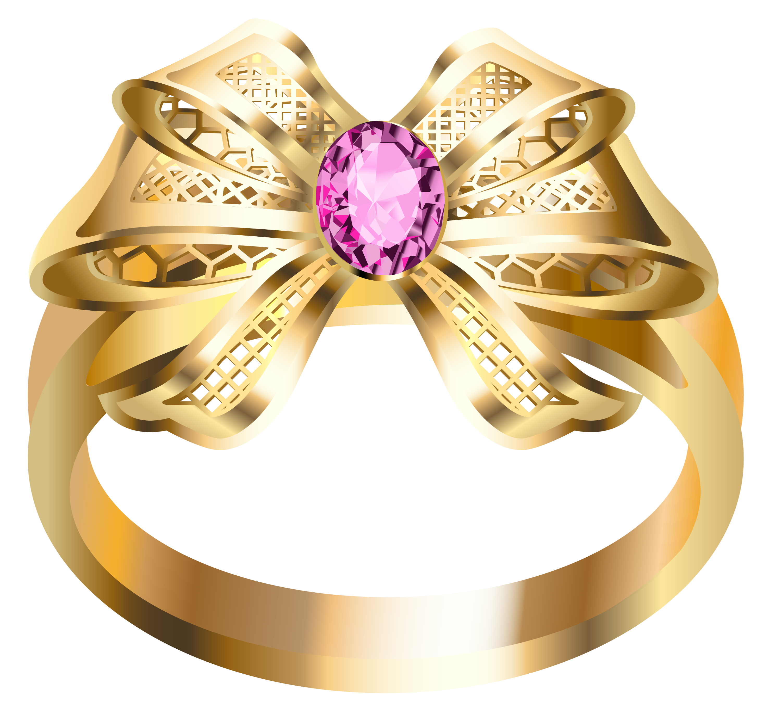 Gold Ring With Diamonds PNG Image.