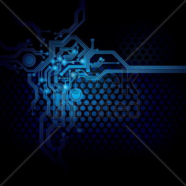 Circuit design on digital background Vector Image.