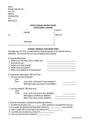 Financial Disclosure Form.