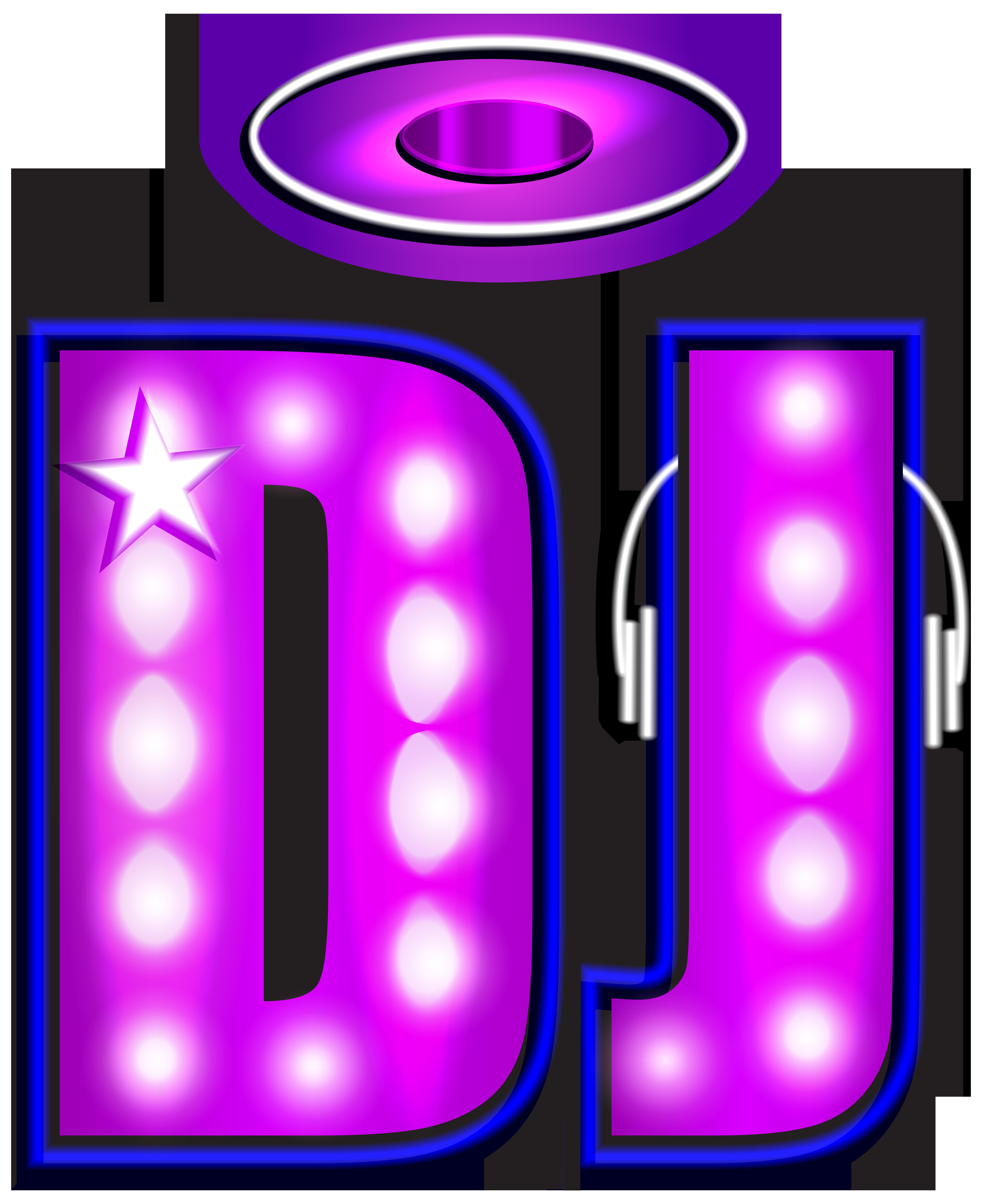 DJ Neon PNG Clip Art Image.