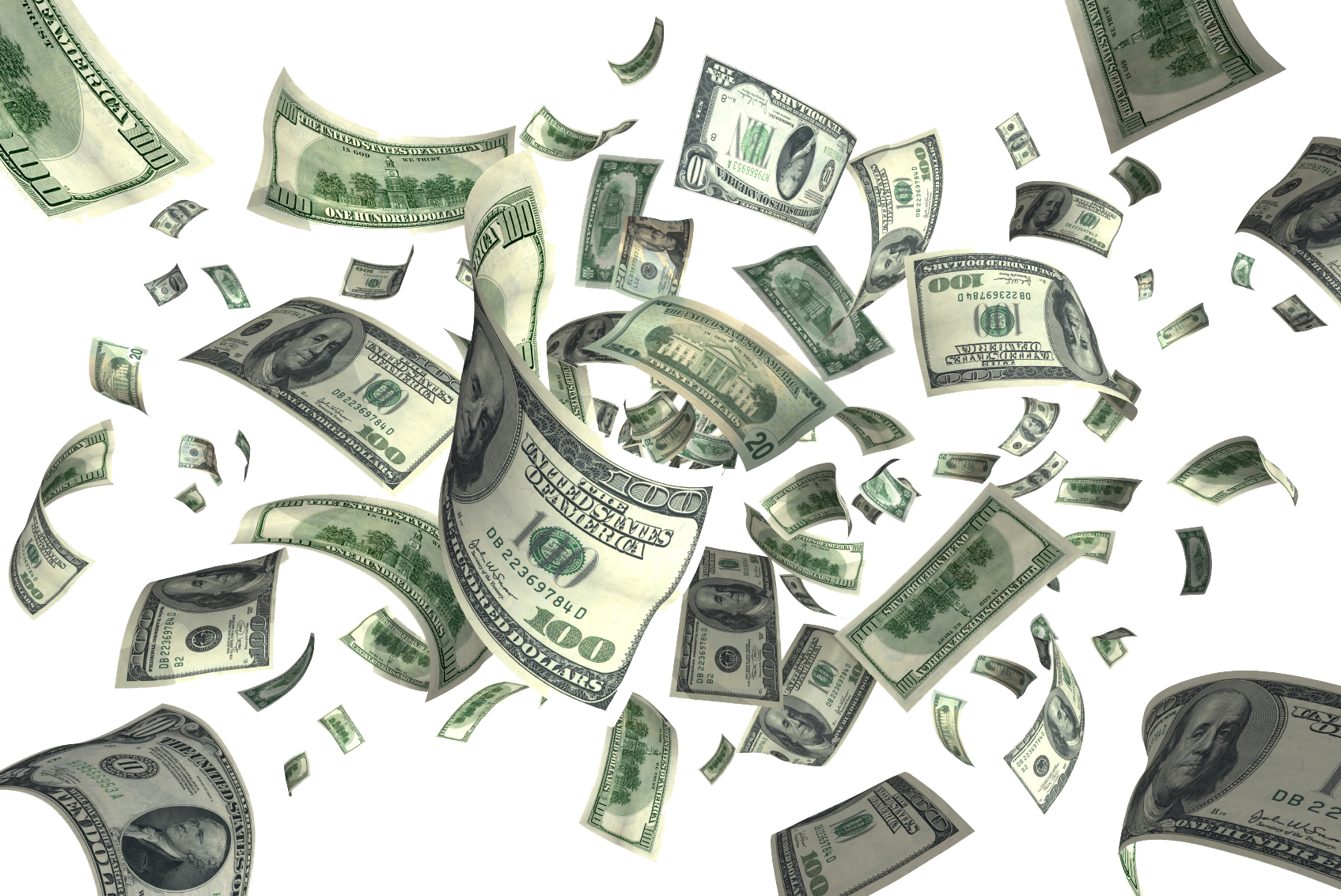 Download Flying Dollars PNG Picture.