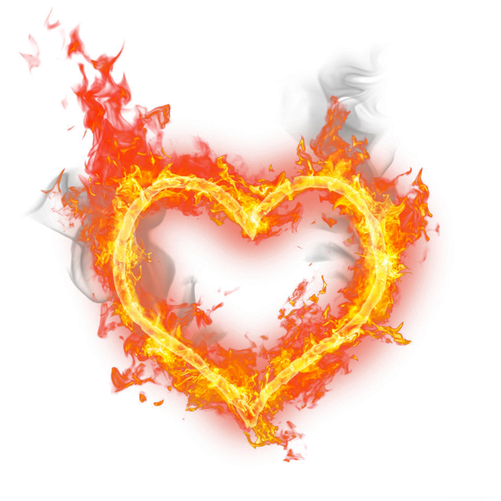 Fire Heart burning PNG.