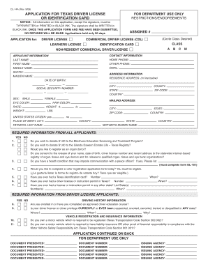 Application For Texas Drivers License 909.