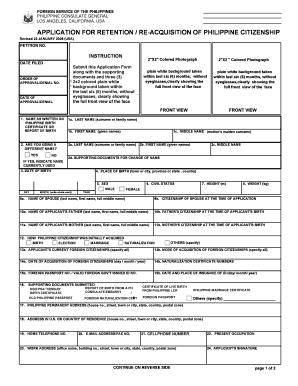 Dual Citizenship Application Form.