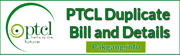 Ptcl Bills ( Duplicate/Inquiry ) Landline And Print Online.
