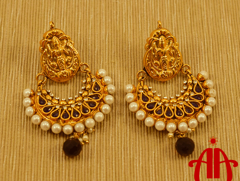 Temple Design Gold Plated Earring.