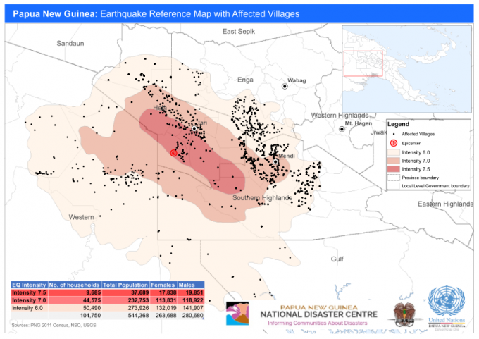 Papua New Guinea: Earthquake Reference Map with Affected.